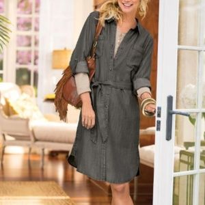 Soft Surroundings Denim Shirt Dress Gray